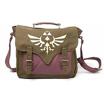 Nintendo Legend of Zelda Skyward Sword goldenen Wappen Canvas Messenger Bag - Einheitsgröße - grün/lila (MB060223NTN)