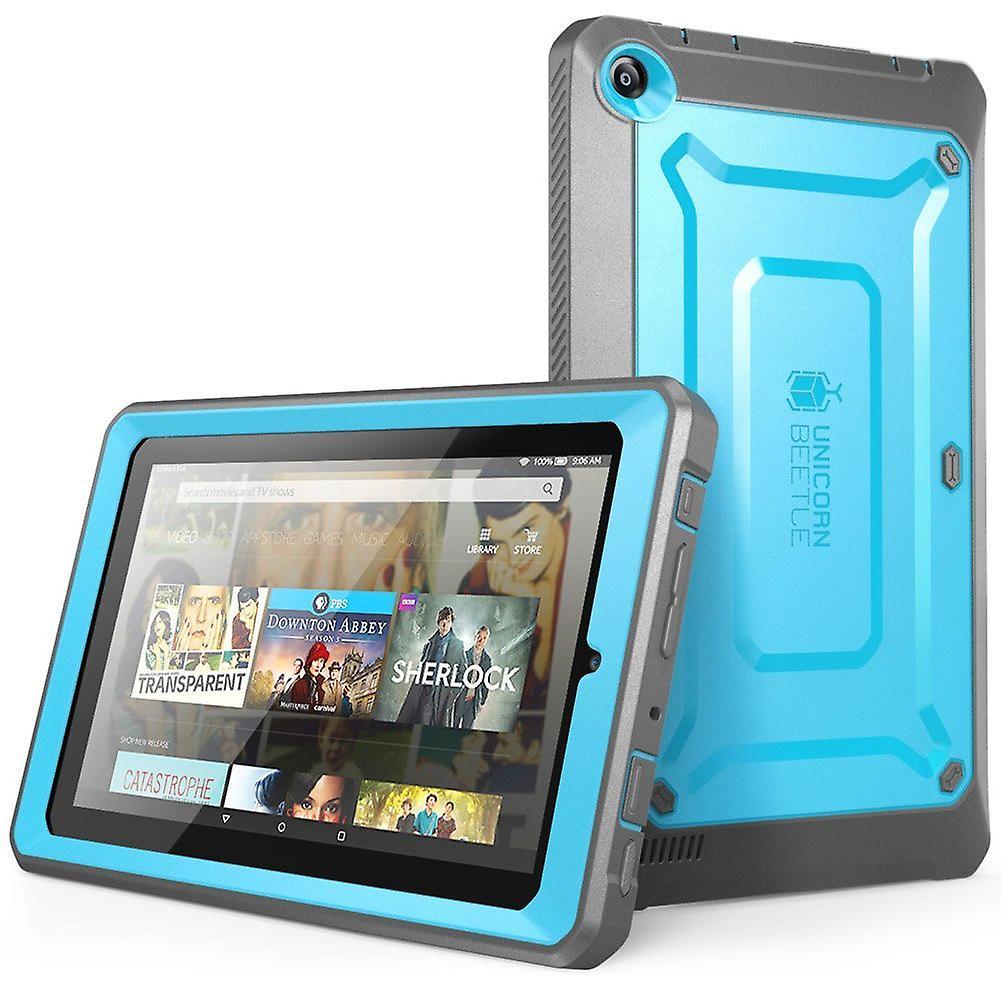 Amazon Fire 7 Case, Supcase, Amazon FIre 7 Tablet, Unicorn Beetle Pro, Fire 7 Case,Protective Case -Blue/Black