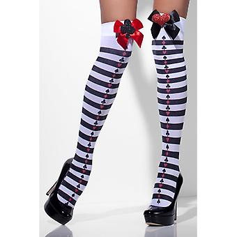 Card design Alice Overknees stockings striped pattern Queen