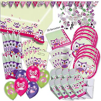 Owls toddler party set XL 77-teilig for 8 guests OWL design decoration party package