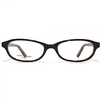 Kurt Geiger Abigail Classic Petite Oval Acetate Glasses In Brown With Tortoiseshell Interior