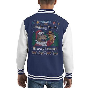 Meowy Catmas ALF Weihnachten stricken Kinder Varsity Jacket