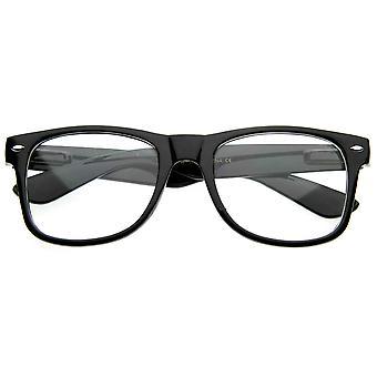 Standard Retro Clear Lens Nerd Geek Assorted Color Horn Rimmed Glasses