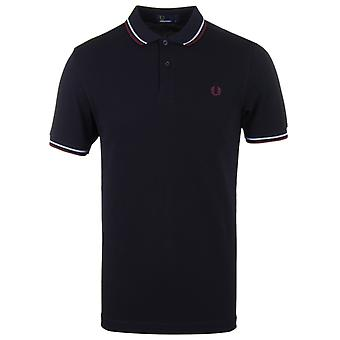 Fred Perry Navy Twin Tipped Pique Polo Shirt