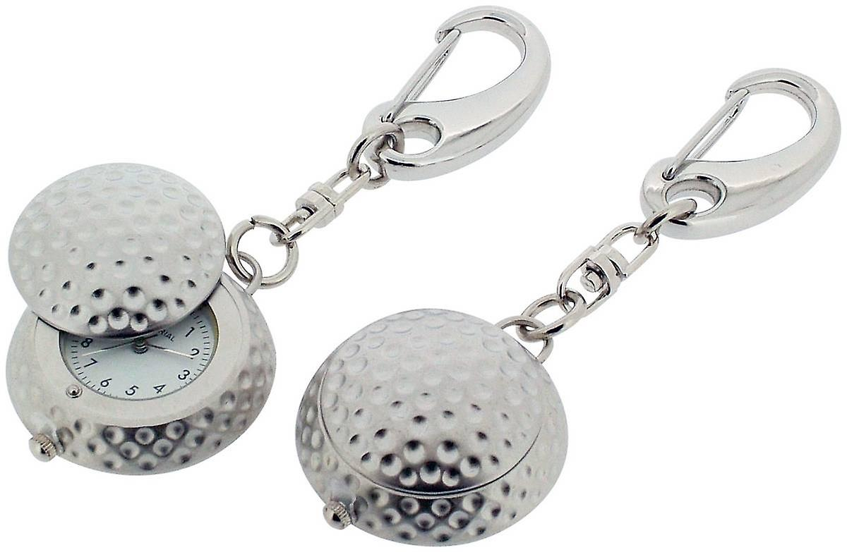 Gift Time Products Golf Ball with Cover Clock Key Ring - Silver