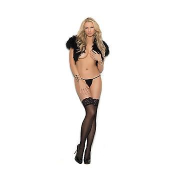 Elegant Moments EM-1186 Sheer lace top thigh hi Stockings with applique