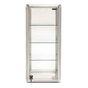 Silver Glass Counter Top Tower Display Cabinet