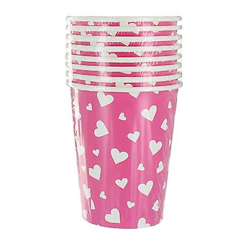 8 Pack Fairy Paper Cups With Heart Pattern Party Accessory