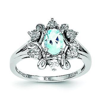 Sterling Silver Diamond and Light Blue Topaz Ring - Ring Size: 6 to 9