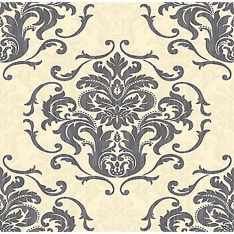 Cream and Charcoal Luxury Damask Wallpaper Feature Wall