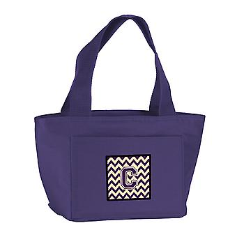 Carolines Treasures  CJ1058-CPR-8808 Letter C Chevron Purple and Gold Lunch Bag