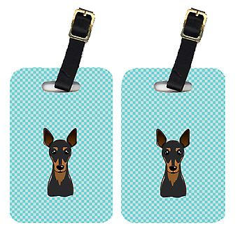 Carolines Treasures  BB1178BT Pair of Checkerboard Blue Min Pin Luggage Tags