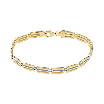 Fine Sterling Silver 925 Mens Solid Link Chain Bracelet with High Quality Thick Gold Plating Width 7mm