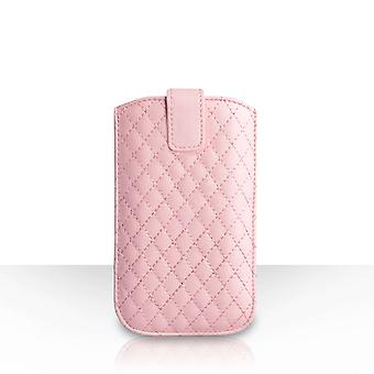 Diamond Pattern Leather Pull Tab Pouch (M) - Baby Pink