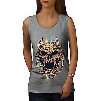 Satan Djævelen skræmmende kraniet kvinder GreyTank Top | Wellcoda