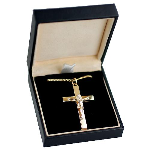 9ct Gold 40x25mm solid block Crucifix Cross with a curb Chain 18 inches