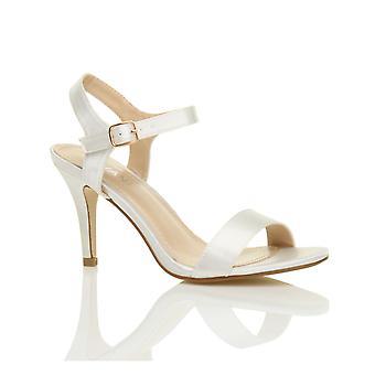Ajvani dame midten af lav højhælede strappy knap der fest bryllup prom sandaler sko