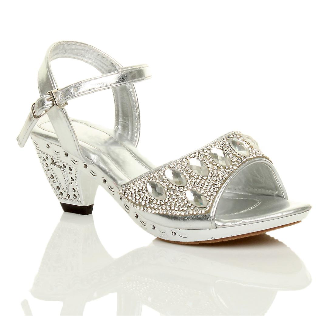 Ajvani girls low heel strap bridesmaid wedding party diamante evening shoes sandals