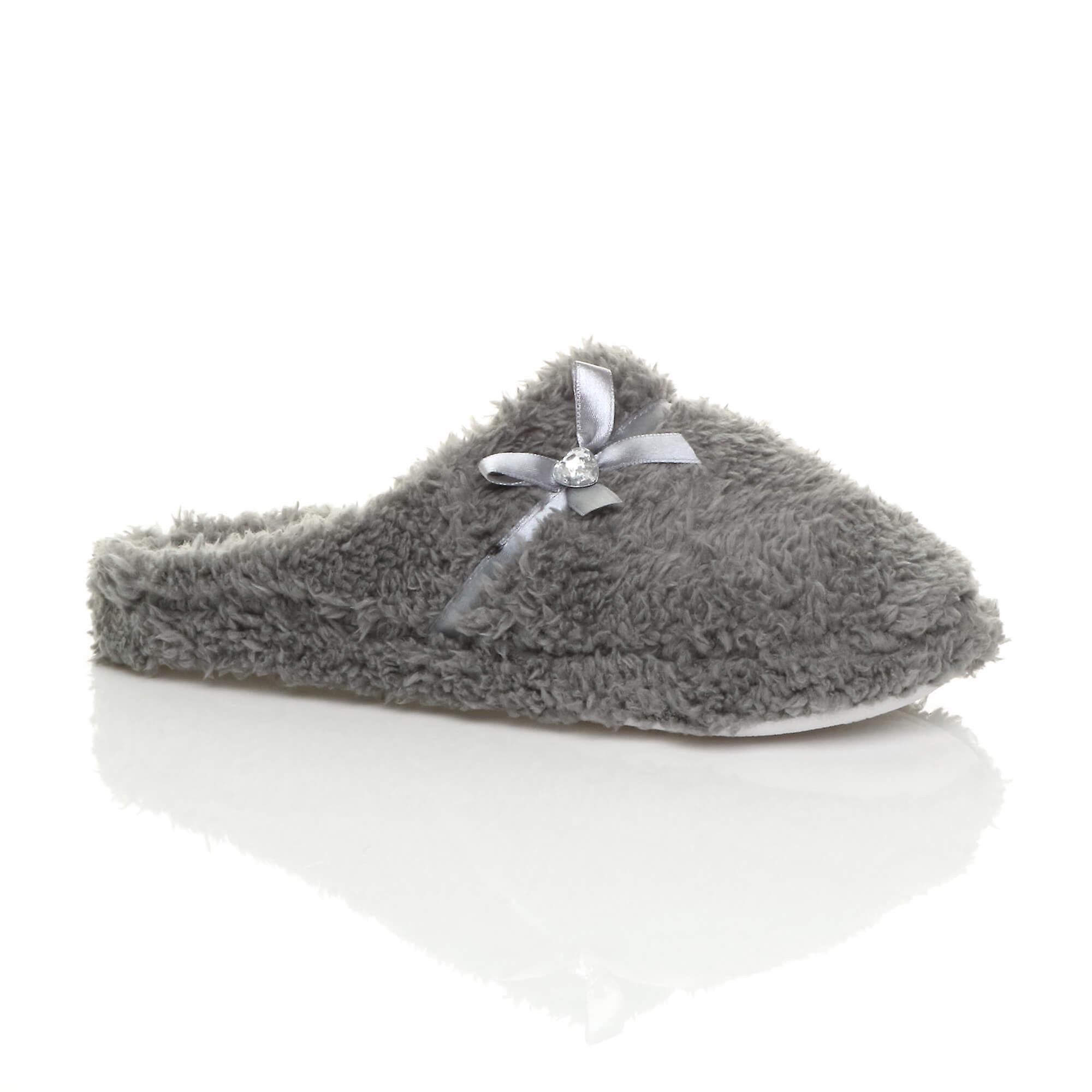 Ajvani womens bow heart gem winter fleece fur slippers slip on mules