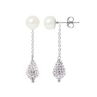 Earrings Silver 925 pearls and Crystal white white