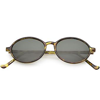 True Vintage Oval Sunglasses Slim Arms Neutral Colored Round Lens 49mm