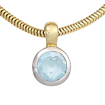Pendants gold Topaz pendant 585 gold yellow gold part rhodium plated 1 Blue Topaz