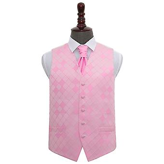 Light Pink Diamond Wedding Waistcoat & Cravat Set