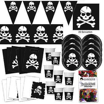 Pirate black flag party set XL 57-teilig for 6 guests skull and crossbones flag birthday decoration party package