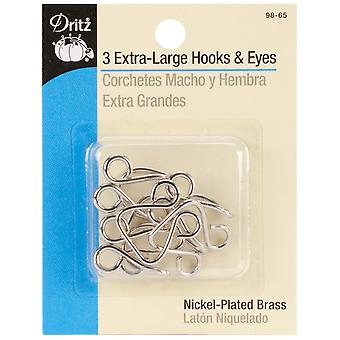 Extra-Large Hooks & Eyes 3/Pkg-Nickel