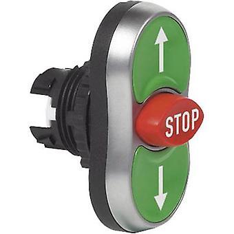 Triple tête bouton poussoir avant anneau (PVC), acier chromé vert, rouge, vert BACO L61BA22 1 PC (s)