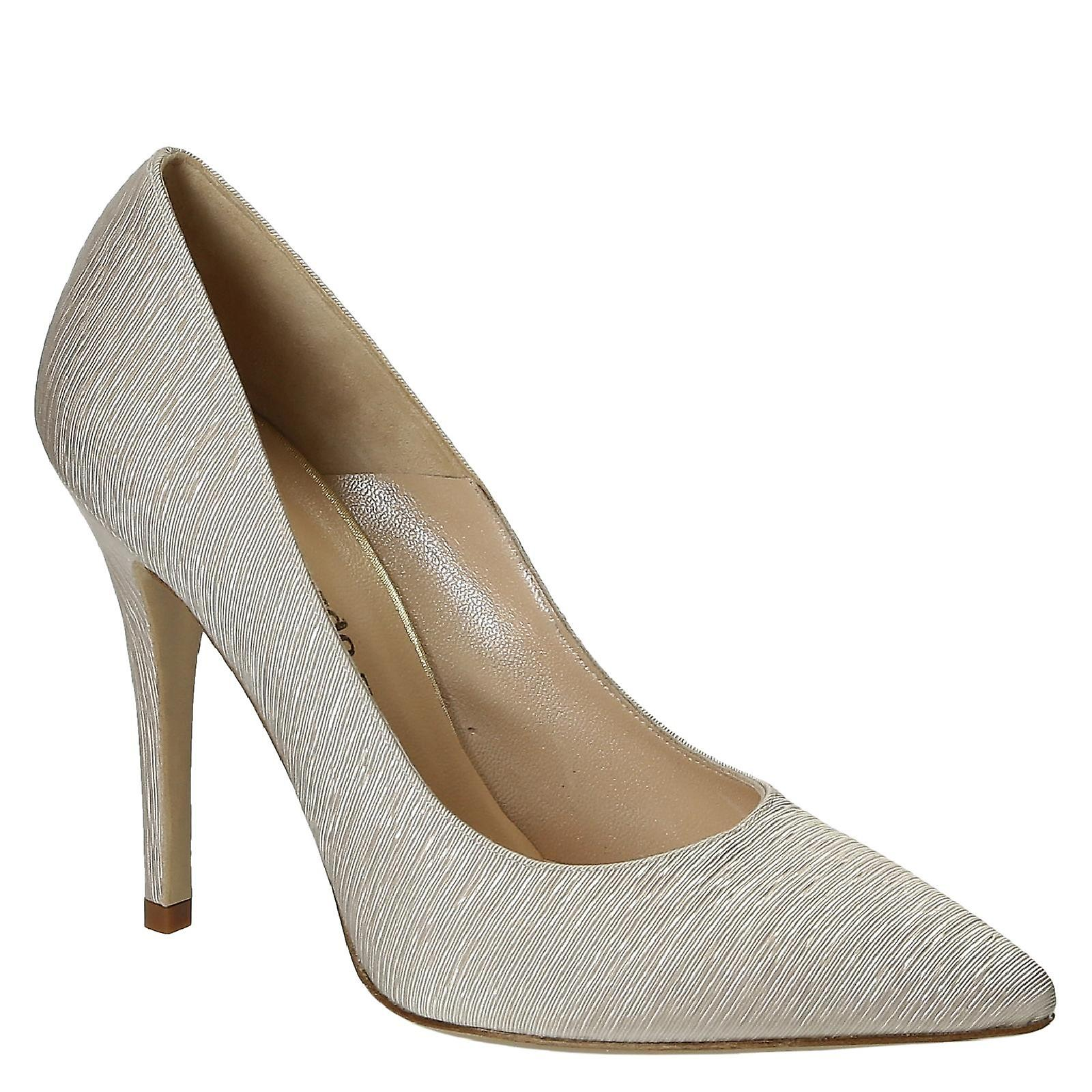 High stilettos heels beige pleated satin stilettos High pumps c2be38