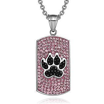Wolf pote østerriksk Crystals Amulet beskyttelse krefter steg rosa Jet svart hunden Tag anheng halskjede