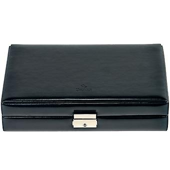 Sacher ring case black, faux leather with nappa look, inside velvet Office