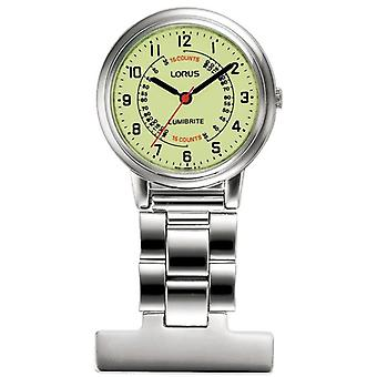 Lorus RG253CX9 Stainless Steel Nurses Fob Watches - Silver with Yellow Dial