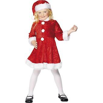 Мини Мисс Санта Nikolaus детей костюм, красный с белым Подол