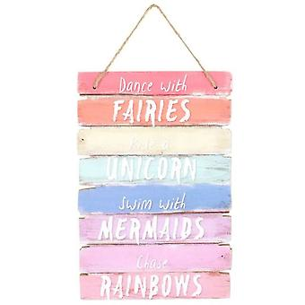 Dance with Fairies Unicorn Wall Hanging Plaque