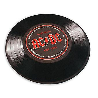 AC/DC carpet round vinyl black, 100% polyester with cotton trim, with the back of the pimples.