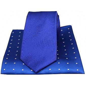 David Van Hagen gerippt, Krawatte und Polka Dot Taschentuch Set - blau