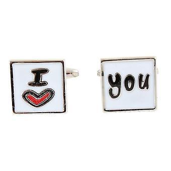 Knightsbridge Neckwear I Love You, boutons de manchettes - blanc/rouge/argent