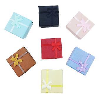 TRIXES 5 x cajas de regalo de anillo de arco elegante Plaza de lujo para la presentación de joyería