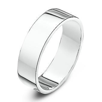 Star Wedding Rings 9ct White Gold Heavy Flat Shape 5mm Wedding Ring