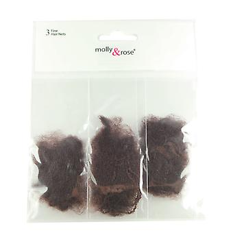 Molly & Rose Fine Hair Net 9pk Brown