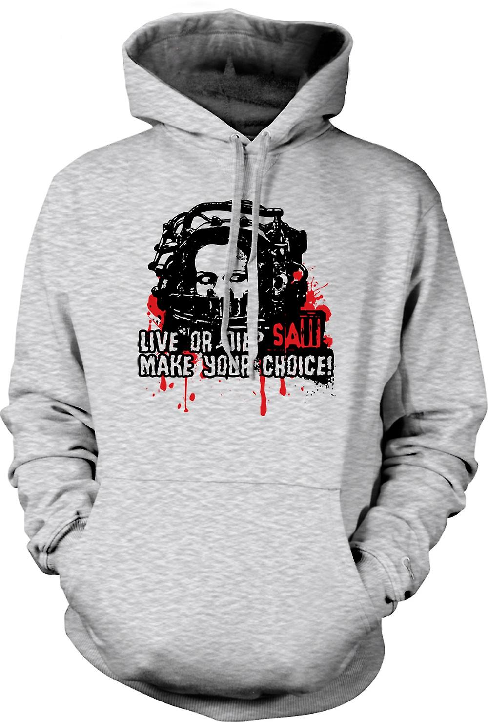 Mens Hoodie - Saw Live Or Die - Horror - Movie