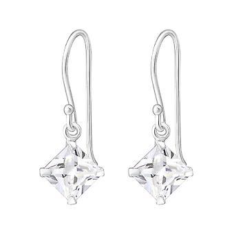 Square - 925 Sterling Silver Cubic Zirconia Earrings - W1092X