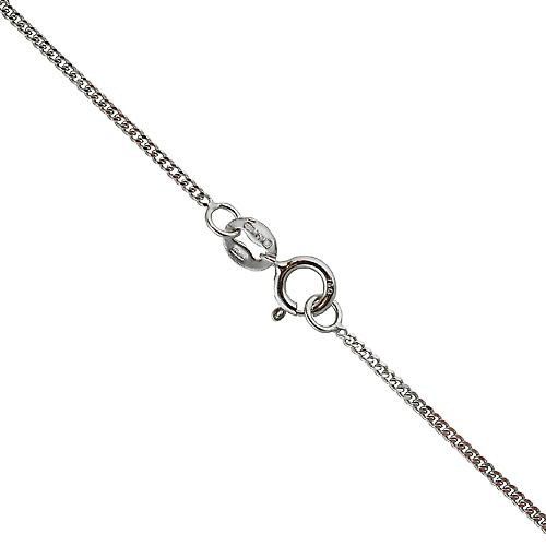 18ct White Gold Pendant Chain Bright cut Curb