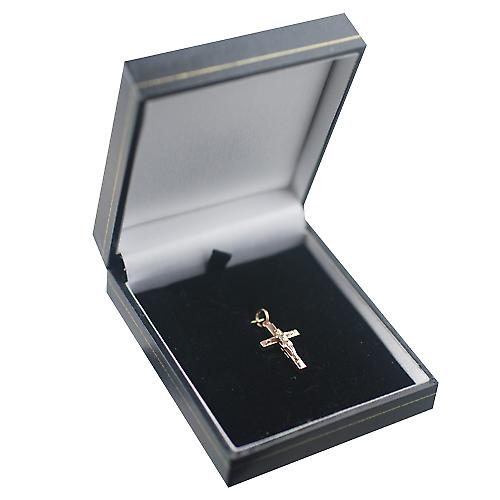 9ct Red Gold 20x13mm solid block Crucifix Cross
