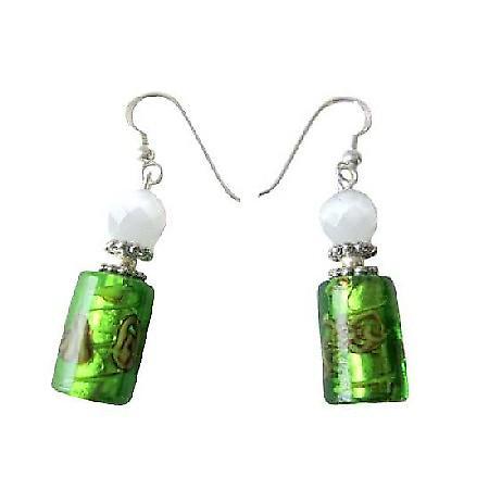 White Cat Eye & Green Cylindrical Millefiori Designed Bead Earrings