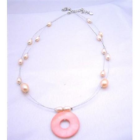 Double Stranded Necklace Freshwater Pearl Pink / Peach Shell Pendant