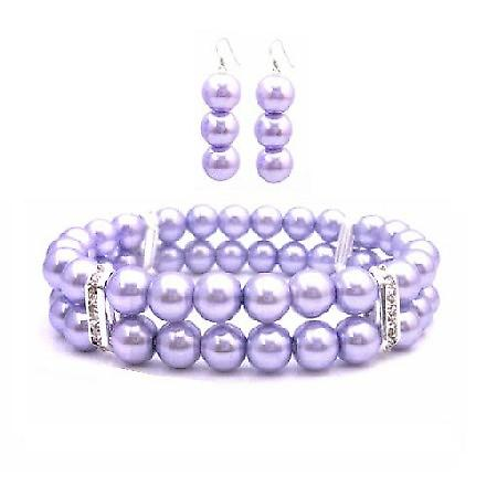 Lavender Pearls Bridemaides Bracelet & Earrings Simulated Lavender Pearl Double Stranded Stretchable w/ Silver Rondells