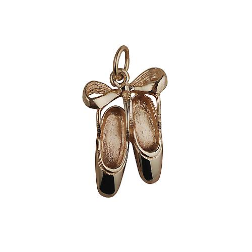 9ct Gold 23x12mm Ballet Shoes with Bow Pendant or Charm